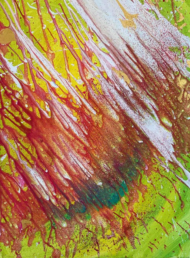 Luci nella foresta 30x40 cm Tempera e glitter su tela - Noah